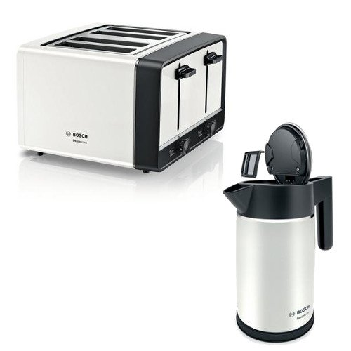 Bosch TWK5P471GB Kettle and Bosch TAT5P441GB 4 Slice Toaster in White